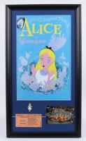 "Disneyland's ""Alice in Wonderland"" 15x26 Print Display with Vintage 'D' Ride Ticket, Vintage Souvenir Postcard, & Alice Lapel Pin at PristineAuction.com"