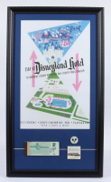 "Disneyland's ""Disneyland Hotel"" 15x26 Print Display with Vintage Match Book, Vintage Disneyland Ticket Book, & Cast Member Lapel Pin at PristineAuction.com"