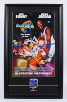 Space Jam 15x24 Custom Framed Movie Poster Display with Vintage Pre Movie Release Pin at PristineAuction.com
