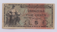 1946-1973 5¢ Five Cents Series 481 Military Payment Certificate Note at PristineAuction.com
