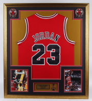 Michael Jordan 32.5x37 Custom Framed Jersey Display with NBA Conference & Finals Pin at PristineAuction.com