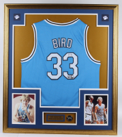 Larry Bird Signed 32x36 Custom Framed Jersey Display with Indiana State Sycamores Pin (PSA Hologram) at PristineAuction.com