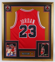 """Michael Jordan  32x36 Custom Framed Jersey Display with Championship """"Repeat the 3-Peat"""" Pin at PristineAuction.com"""