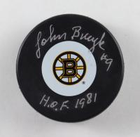 "Johnny Bucyk Signed Bruins Logo Hockey Puck Inscribed ""HOF 1981"" (Beckett COA) at PristineAuction.com"