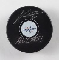 "Jakub Vrana Signed Capitals Logo Hockey Puck Inscribed ""All Caps!"" (Fanatics Hologram) at PristineAuction.com"