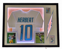 Justin Herbert Signed 34x44 Custom Framed LED-Backlit Jersey Display with 2020 Panini Mosaic #263 RC (PSA 9) & 2020 Absolute #167 RC (Beckett COA) at PristineAuction.com