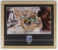 Space Jam 18x21 Custom Framed Movie Poster Display with Vintage Opening Day Pin at PristineAuction.com