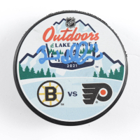 Brad Marchand Signed 2021 Bruins vs. Flyers Logo Hockey Puck (Marchand COA) at PristineAuction.com