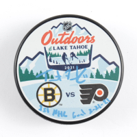 """Trent Frederic Signed 2021 Bruins vs. Flyers Logo Hockey Puck Inscribed """"1st NHL Goal 2-21-21"""" (Frederic COA) at PristineAuction.com"""
