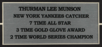 Thurman Munson 12x21 Custom Framed LeRoy Neiman Print Display With 1974-1975 Yankees Official Schedules (See Description) at PristineAuction.com