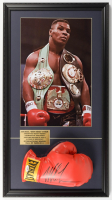 Mike Tyson Signed 16x29 Custom Framed Boxing Glove Display (PSA COA) at PristineAuction.com