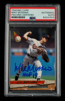 """Mike Mussina Signed 1993 Ultra #144 Inscribed """"HOF 19"""" (PSA Encapsulated) at PristineAuction.com"""