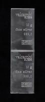 Uncut Sheet of (2) 10 Gram Silver Valcambi Mint Bullion Bars at PristineAuction.com