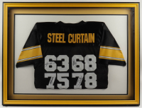"""""""Steel Curtain"""" Signed Steelers 32.5x43 Custom Framed Jersey Display Signed By """"Mean"""" Joe Greene, LC Greenwood, Ernie Holmes, & Dwight White (JSA Hologram) (See Description) at PristineAuction.com"""