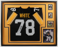 Dwight White Signed Steelers 34x41 Custom Framed Jersey (PSA Hologram) at PristineAuction.com