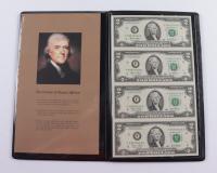 World Reserve Monetary Exchange Certified Genuine Bankers Vault Portfolio Set of (4) Uncut 2003 $2 Two-Dollar U.S. Bills Sheet with Folder at PristineAuction.com