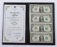 World Reserve Monetary Exchange Certified Genuine Bankers Vault Portfolio Set of (4) Uncut 2009 $1 One-Dollar U.S. Bills Sheet with Folder at PristineAuction.com