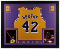 James Worthy Signed 35x43 Custom Framed Jersey Display (Beckett Hologram) at PristineAuction.com