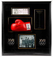 Muhammad Ali Signed LE 31x34x7 Custom Framed Boxing Glove Shadowbox Display (Online Authentics COA) (See Description) at PristineAuction.com
