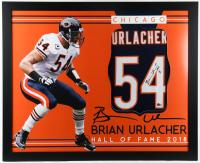"Brian Urlacher Signed 35x43 Custom Framed Jersey Display Inscribed ""HOF 18"" (Beckett Hologram) at PristineAuction.com"