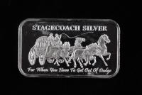 1 Oz .999 Fine Silver Stagecoach Silver Bullion Bar at PristineAuction.com