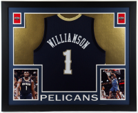 Zion Williamson 35x43 Custom Framed Jersey Display (See Description) at PristineAuction.com