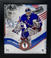 Henrik Lundqvist LE Rangers 15x17 Custom Framed Photo Display with Game Used Puck Piece #1/50 at PristineAuction.com