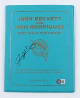 Ivan Rodriguez Signed Josh Beckett & Ivan Rodrigeuz 22KT Gold MVP Cards Display (Beckett COA) (See Description) at PristineAuction.com