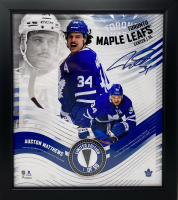 Auston Matthews LE Maple Leafs 15x17 Custom Framed Photo Display with Game Used Puck Piece at PristineAuction.com