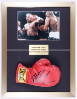 Mike Tyson Signed 17x22 Custom Framed Boxing Glove Display (PSA COA) (See Description) at PristineAuction.com