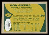 Ron Rivera Signed 1989 Topps #61 (JSA COA) at PristineAuction.com