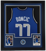 Luka Doncic 31x35 Custom Framed Jersey Display at PristineAuction.com
