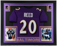 Ed Reed Signed 35x43 Custom Framed Jersey Display (Beckett COA) at PristineAuction.com