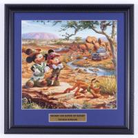 "Thomas Kinkade Walt Disney's ""Mickey & Minnie on Safari"" 16x16 Custom Framed Print at PristineAuction.com"