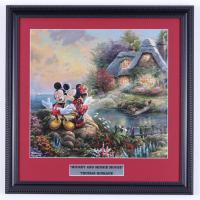 "Thomas Kinkade ""Mickey & Minnie Mouse"" 16x16 Custom Framed Print Display at PristineAuction.com"