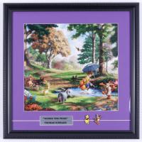 "Thomas Kinkade ""Winnie the Pooh"" 16x16 Custom Framed Print Display with Winnie The Pooh & Tigger Lapel Pins at PristineAuction.com"