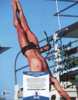 Greg Louganis Signed 8x10 Photo with Multiple Career Stat Inscriptions (Beckett COA) at PristineAuction.com