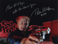 """Thomas F. Wilson Signed """"Back to The Future"""" 11x14 Photo Inscribed """"Biff"""" & """"Two McFlys With The Same Gun"""" (AutographCOA COA) at PristineAuction.com"""