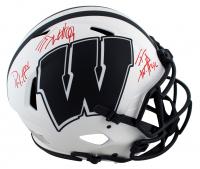 J.J., T.J. & Derek Watt Signed Wisconsin Badgers Full-Size Authentic On-Field Lunar Eclipse Alternate Speed Helmet (JSA COA & Watt Hologram) at PristineAuction.com