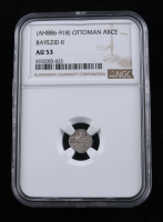 Bayezid II, (AH886-918) Ottoman Akce Medieval Silver Coin (NGC AU53) at PristineAuction.com