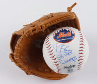 """Darryl Strawberry Signed Mets Logo OML Baseball Inscribed """"86 WS Champs"""" With Mini-Glove (PSA COA) at PristineAuction.com"""