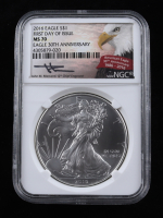 John Mercanti Signed 2016 American Silver Eagle $1 One-Dollar Coin - First Day of Issue, Eagle 30th Anniversary (NGC MS70) at PristineAuction.com