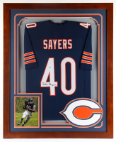 Gale Sayers Signed 35x43 Custom Framed Jersey Display (PSA COA) at PristineAuction.com