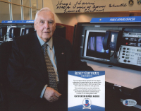 """Hugh Harris Signed 8x10 Photo Inscribed """"NASA Voice of Space Shuttle Launch Control"""" (Beckett COA) at PristineAuction.com"""