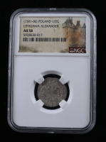 Alexander I (1501-1506) Lithuania 1/2 Groschen Medieval Silver Coin (NGC AU58) at PristineAuction.com