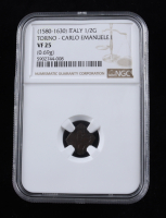 Carlo Emanuele I (1580-1630) Italy, Torino 1/2G Coin (NGC VF25) at PristineAuction.com