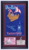 "Disneyland Fantasyland's ""Peter Pan"" 15x26 Custom Framed Print Display with Vintage Disneyland Pin, Vintage Peter Pan C Ride Ticket & Postcard Envelope at PristineAuction.com"