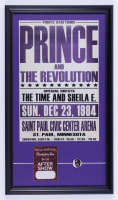 """Prince & The Revolution """"Purple Rain Tour"""" 15x26 Custom Framed Poster Display with Original Backstage Pass & a Concert Pin at PristineAuction.com"""