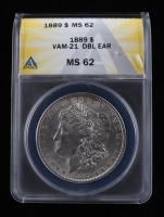 1889 Morgan Silver Dollar, VAM-21 Doubled Ear (ANACS MS62) at PristineAuction.com