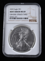 Mint Error - 2020 American Silver Eagle $1 One Dollar Coin - Obverse Struck Thru (NGC MS69) at PristineAuction.com